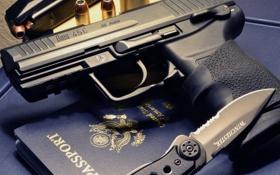 Обои пистолет, нож, полуавтоматический, HK45C