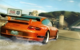 Картинка брызги, город, гонка, Need for Speed Undercover, Porsche gt3 rs
