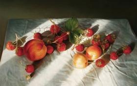 Обои лето, свет, ягоды, тень, картина, земляника, арт