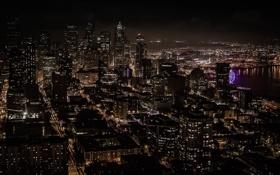 Обои город, огни, здания, дома, Сиэтл, Seattle