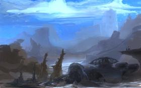 Картинка фантастика, небеса, арт, руины