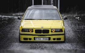 Обои BMW, Тюнинг, БМВ, Желтая, Фары, E36, Stance