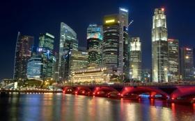 Обои ночь, мост, city, Сингапур, высотки, Singapore, мега