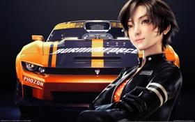 Обои девушка, машина, ridge racer 3d, улыбка, азиатка