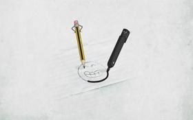 Обои минимализм, смайл, карандаш, маркер
