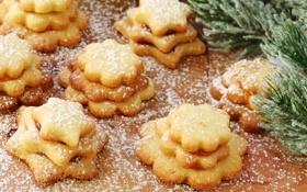 Обои ветки, елка, ель, печенье, сахар, звездочки, выпечка