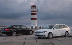 Картинка Škoda, машины, Superb, седан и универсал, маяк, обои
