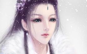 Картинка девушка, снег, украшения, лицо, арт, мех