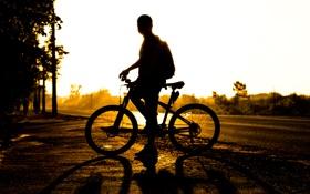 Картинка солнце, закат, велосипед, силуэт, мужчина, bike, sunset
