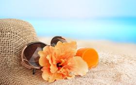 Обои песок, море, пляж, лето, цветы, отдых, шляпа