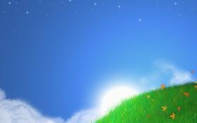 Обои трава, небо, солнце, холмы, пейзажи, стиль, минимализм