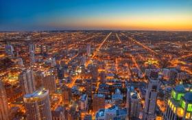 Картинка ночь, город, огни, вечер, горизонт, чикаго, Chicago