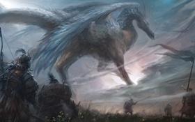 Картинка трава, дракон, армия, войны, арт