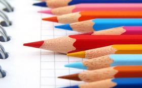 Картинка цвета, карандаши, тетрадь