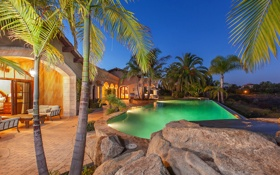Картинка palm, pool, luxury, villa, ranch