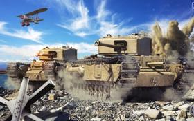 Картинка танк, Великобритания, самолёт, танки, WoT, Мир танков, United Kingdom