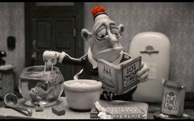 Обои мультфильм, мужик, пластилиновый, мэри и макс, с кипятильником в аквариуме