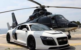 Картинка audi, white car, вертолёт