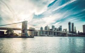 Обои город, рассвет, Нью-Йорк, небоскребы, USA, мегаполис, NYC