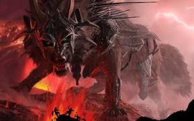 Картинка горы, молнии, волк, доспехи, пасть, лава, клыки