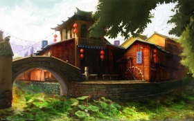 Обои мост, город, арт, пагода, речка, гармония, культура