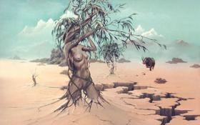 Картинка дерево, женщина, носорог, Сюрреализм, John Pitre