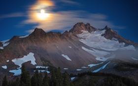 Картинка лес, снег, горы, природа, вершина