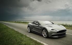 Обои небо, Aston Martin, Море, Авто, Дорога, Тучи, Серый
