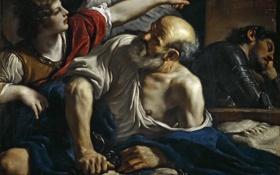 Обои картина, религия, мифология, Гверчино, Джованни Франческо Барбьери, Святой Петр Освобождаемый Ангелом