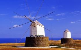 Обои Madeira, old wind mills, Portugal, Portela, Porto Santo island
