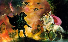 Обои огонь, witchking, Гендальф, the lord of the rings, битва, Gandalf, арт