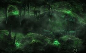 Картинка темно, арт, пропасть, пещера, сталагмиты, сталактиты