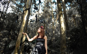 Картинка лес, птицы, платье, азиатка