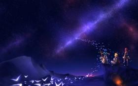 Картинка огонь, звезды, пещера, небо, посох, ночь, птицы