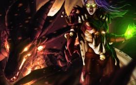 Обои девушка, магия, эльф, World of Warcraft, Warcraft, sinestra
