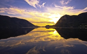 Обои закат, горы, отражение, река, river, sunset, mountains