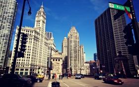 Обои здания, дома, небоскребы, Чикаго, USA, Chicago, street