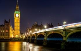 Обои England, Great Britain, Великобритания, выдержка, Westminster Palace, мост, река