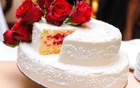 Обои цветы, еда, розы, торт, красные, десерт, глазурь