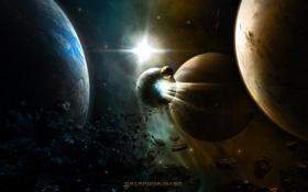 Обои обломки, планеты, астероиды, комета