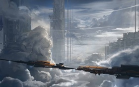 Обои облака, город, поезд, высота, арт, башни