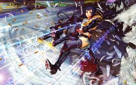 Картинка осколки, пистолеты, здания, Девушка, перья, падение, гильзы
