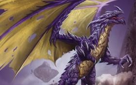 Обои крылья, зубы, Дракон, лапы, шипы, пасть, когти