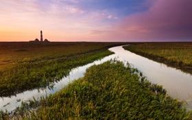 Обои небо, трава, река, краски