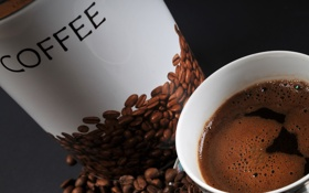 Обои чашка, кофе, зерна