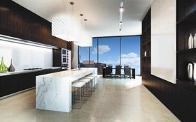 Обои дизайн, город, стиль, интерьер, кухня, апартаменты, столовая