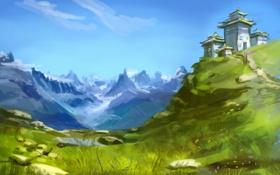 Картинка трава, пейзаж, горы, дом, здание, холм, арт