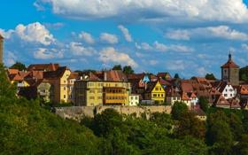 Картинка облака, город, фото, дома, Германия, Бавария, Tauben