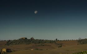 Обои небо, деревья, луна, поля, дома, деревня, Италия