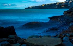 Обои пейзаж, камни, ночь. небо, облака. море